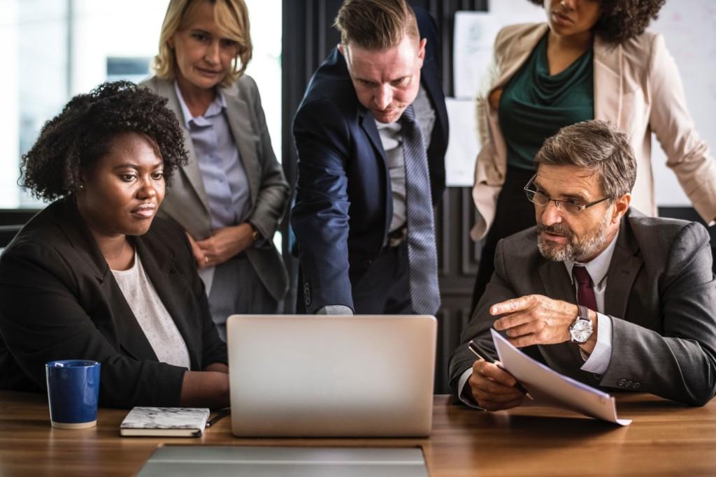 business people laptop meeting