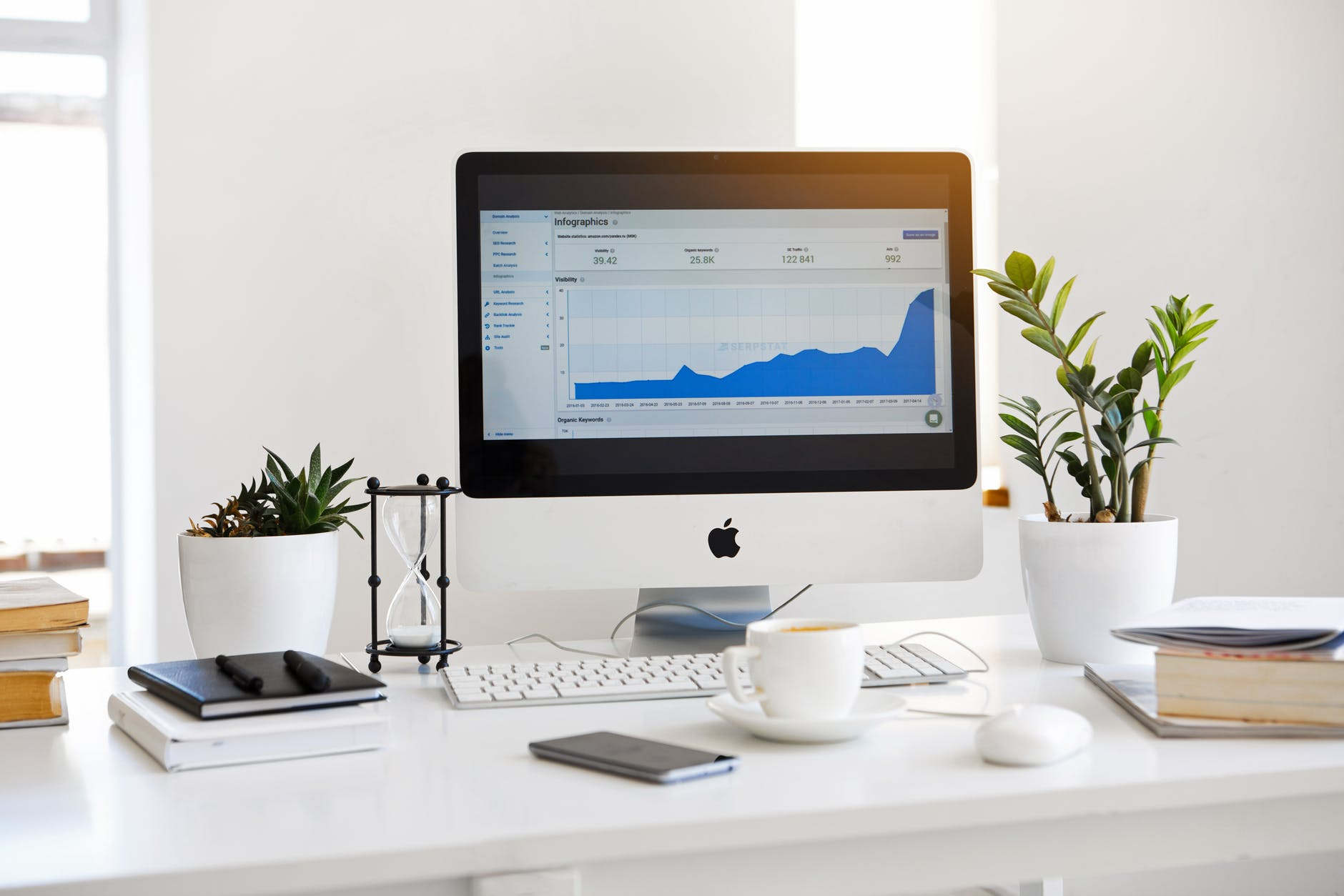 Office desk with iMac displaying graph on screen